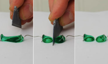 Cutting Water Droplets In Half With A Superhydrophobic Knife