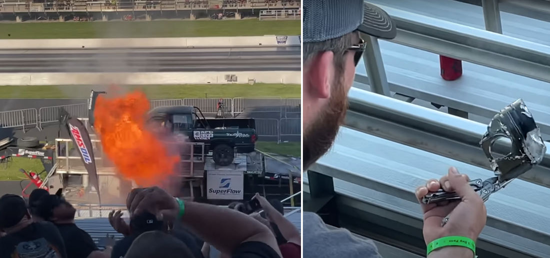 Modded Diesel Truck's Engine Explodes On Dyno, Raining Parts On Spectators