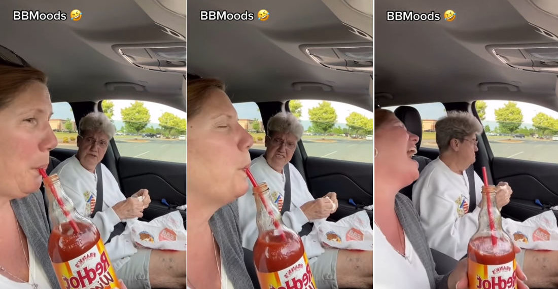 Classic: Woman Tricks Mother Into Thinking She's Drinking A Bottle Of Hot Sauce