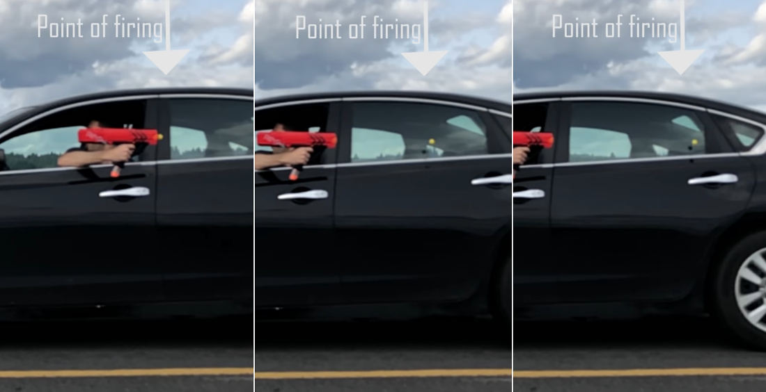 Firing A Nerf Ball Backwards From A Car Traveling The Same Speed Forwards