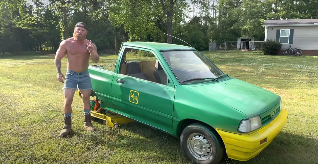 Man Mods Old Ford Festiva Into Very Impressive Lawn Mower