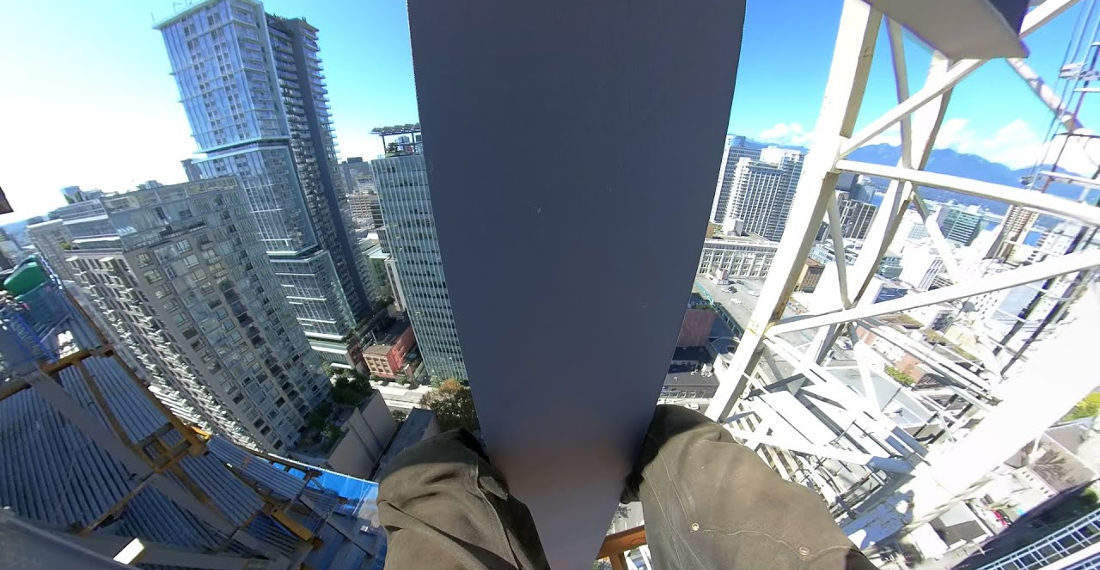 First Person POV Footage Of High-Rise Iron Worker