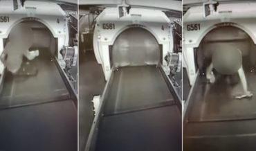 Kid Rides Baggage Conveyor Belt Into Sorting Machine At Airport