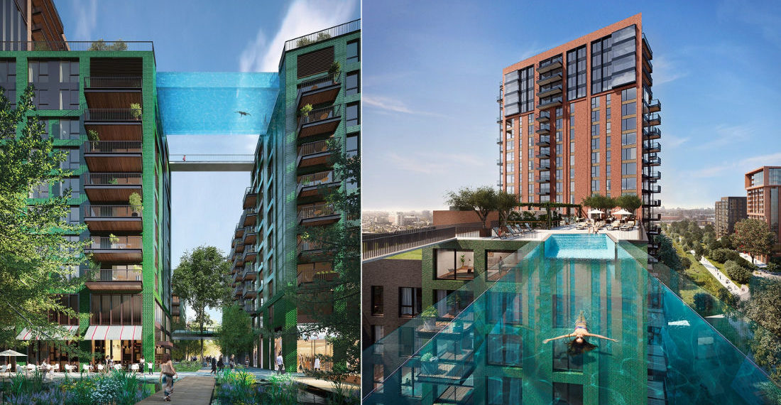 Clear Pool Connecting Two Apartment Buildings 115-Feet High Opening In London