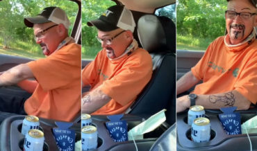 Older Guy Wakes Up After Friend Has Drawn On Him