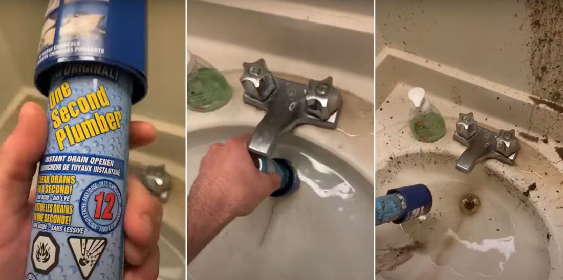 Man Attempts Sink Unclogging With One Second Plumber