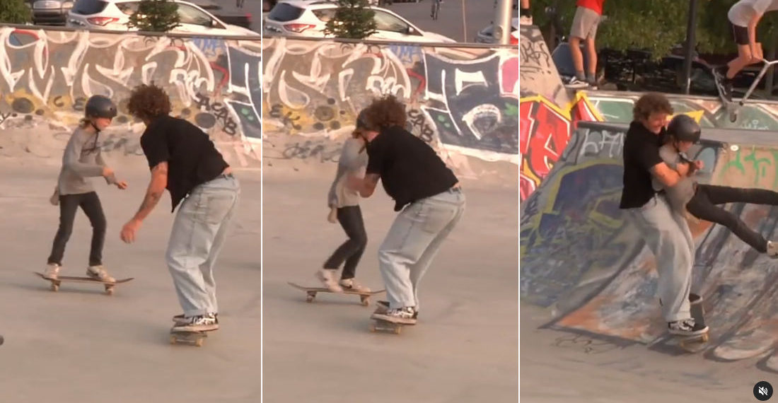 Skateboarder Smoothly Picks Up Kid He's About To Run Into, Returns To Own Board