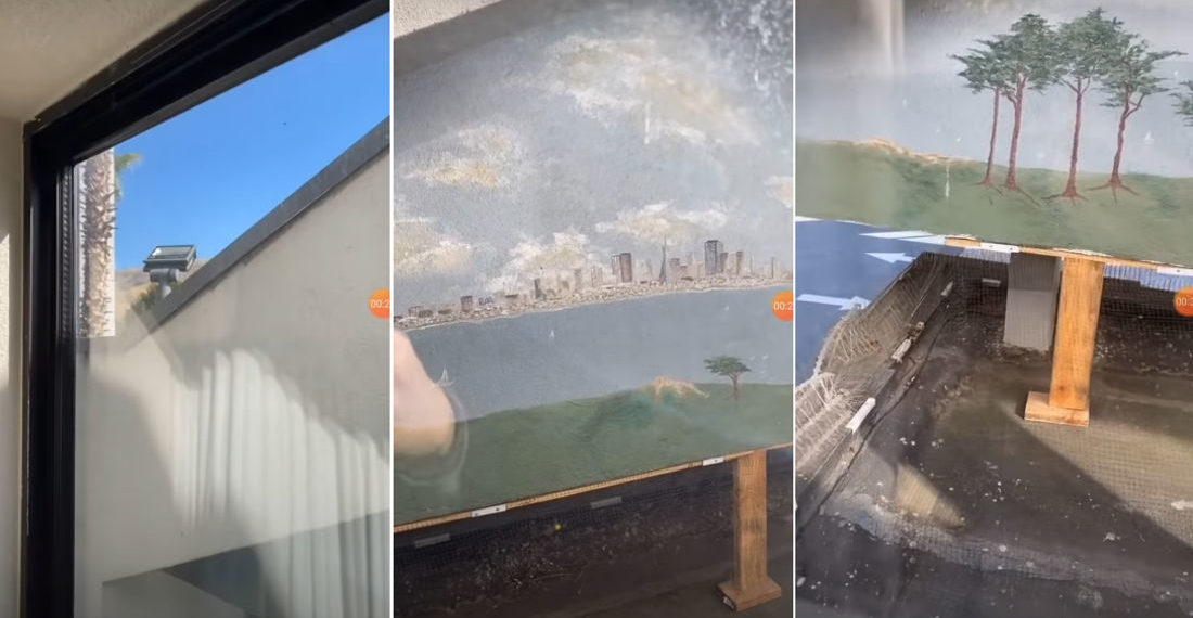 Guy Stays At San Fran Hotel, Gets View Of Back Of Hotel Sign With Painted City Mural