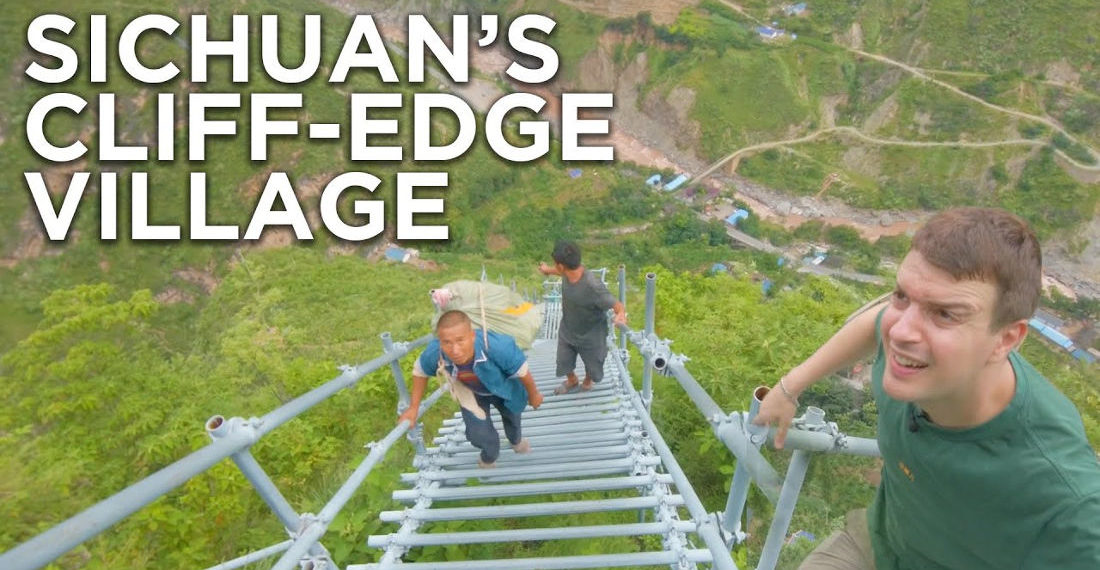 Man Attempts To Climb 800-Meter High Staircase To Chinese Village Atop Mountain