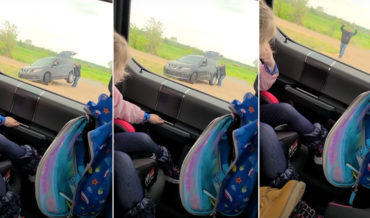 Dad Earns Superhero Status From His Children By Helping Motorist Out Of Ditch