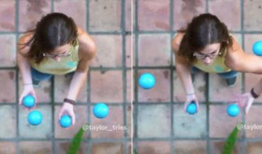 Mesmerizing Top-Down Footage Of Juggler