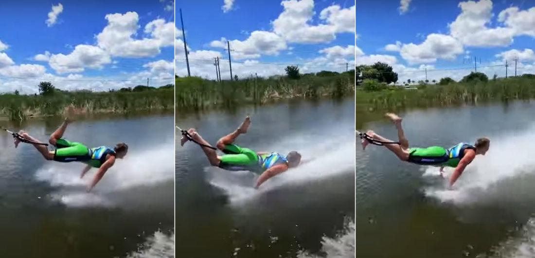 Barefoot Waterskier Performs Pushups