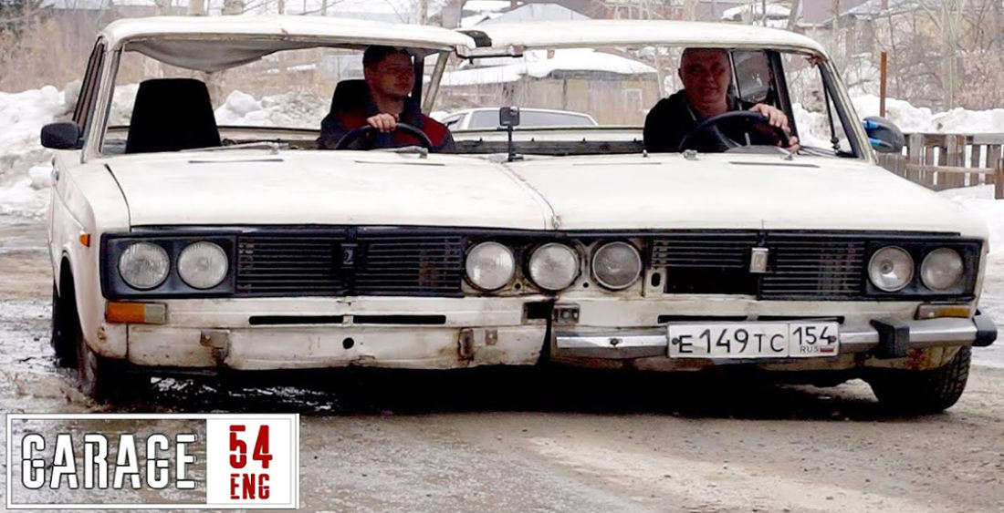 Russian Mechanics Weld Two Identical Cars Together To Create Ultra-Widebody