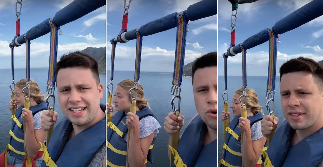 Guy Records Parasailing Trip With Wife While She Hates It