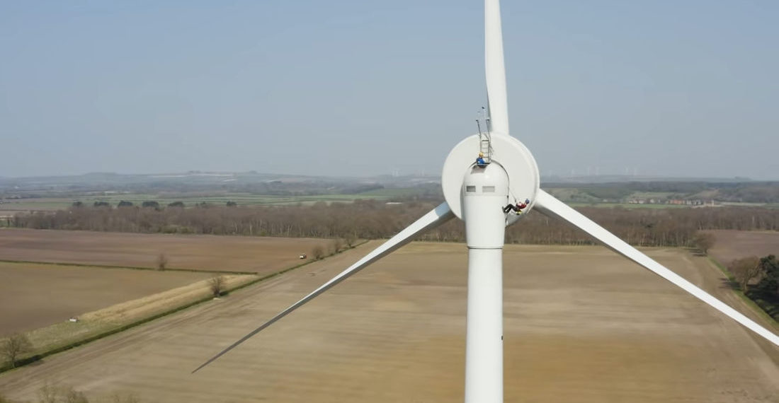 Taking The Emergency Exit Out The Top Of A Wind Turbine
