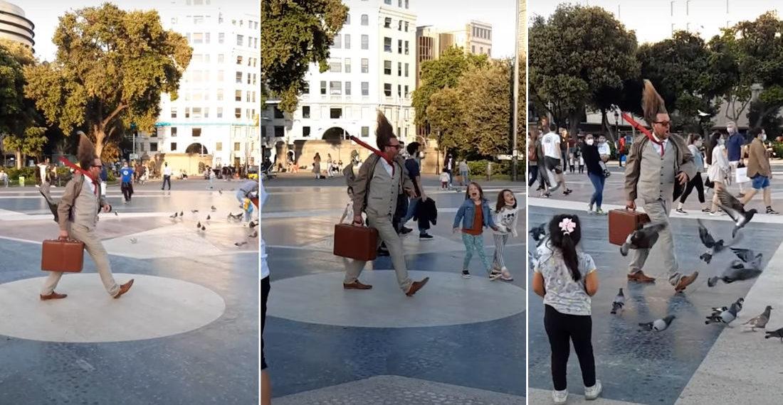 'Windyman' Street Performer's Impressive Frozen In Time Routine