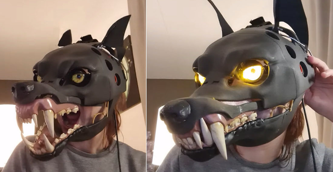 Freaky Deaky: Woman Demonstrates Her 3D Printed Animatronic Wolf Mask