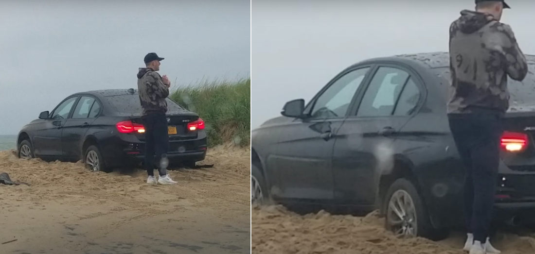 Man Locks Himself Out Of BMW Stuck On Beach While Still In Reverse