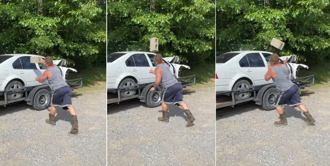 Access Denied: Cinderblock Thrown AT Car Window Bounces Back