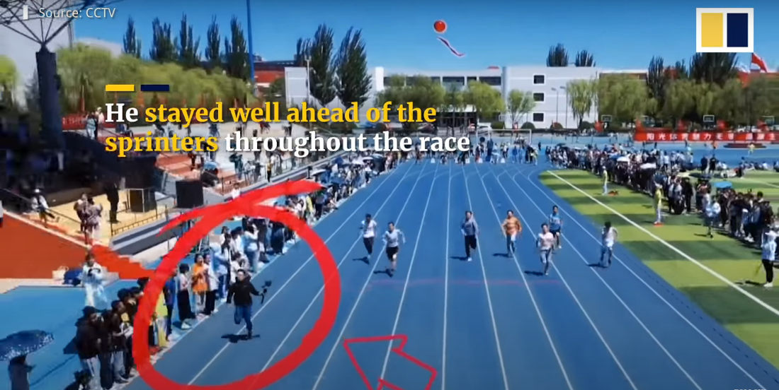 Cameraman Keeps Up With College Athletes While Filming 100-Meter Dash