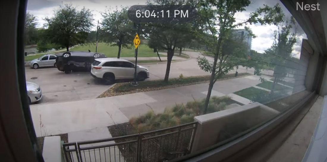 Car Casually Sideswipes SUV, Attempts Immediate Barrel Roll