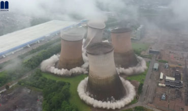 Four Power Station Cooling Towers Being Demolished Simultaneously