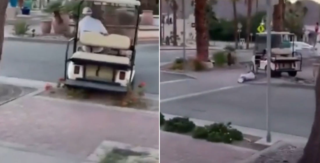 Drunk Old Man Warned Not To Drive Golf Cart Still Does, Eats Pavement
