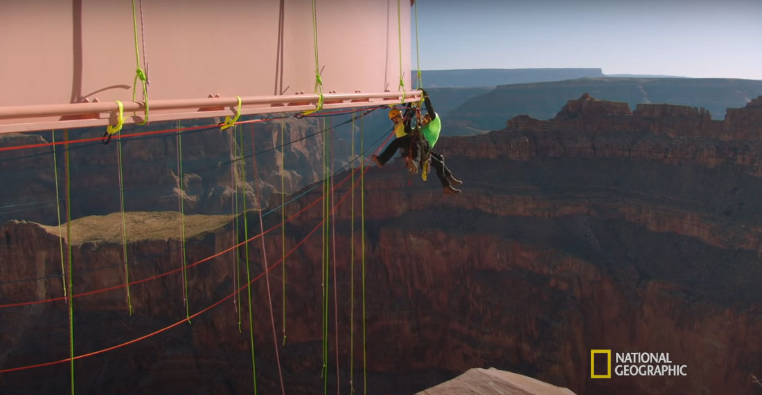 Guy Afraid Of Heights Tasked With Cleaning Underside Of Grand Canyon's Glass Skywalk