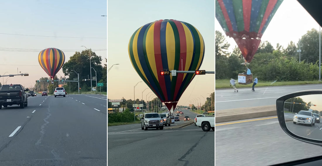 Hot Air Balloon Makes Emergency Landing In Middle Of Road
