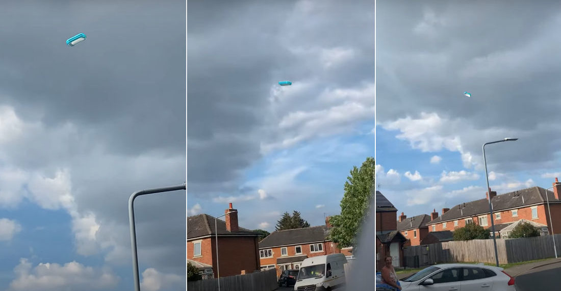 Inflatable Kiddy Pool Floats Away In The Sky