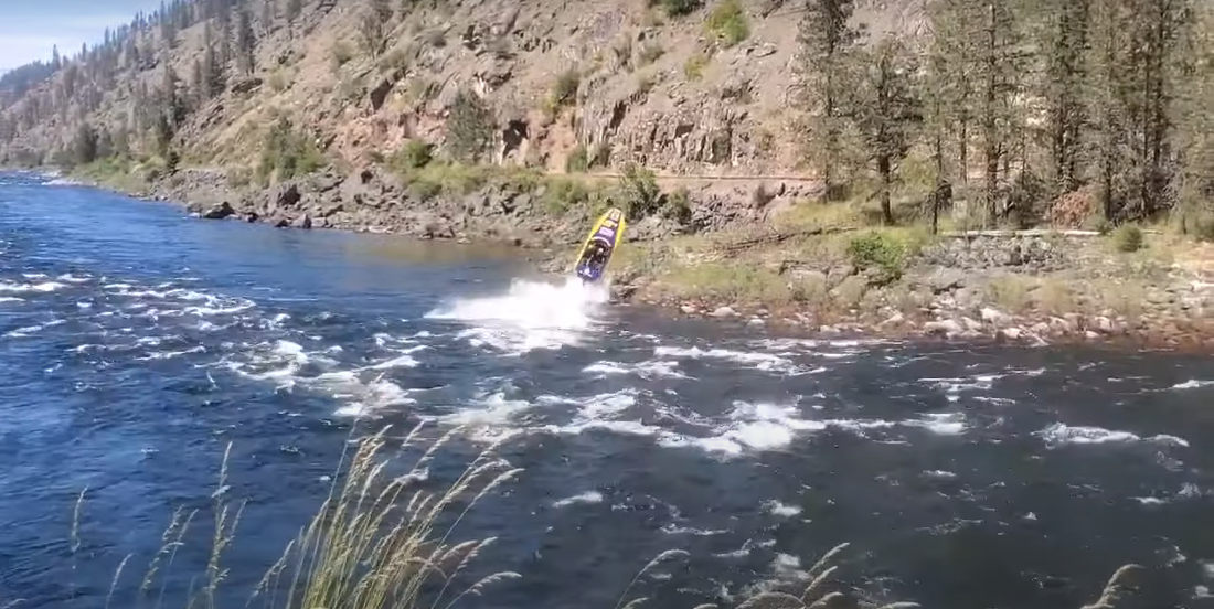 Woopsie: Jet Boat Launches Off Giant Rock, Crashes Onshore During River Race