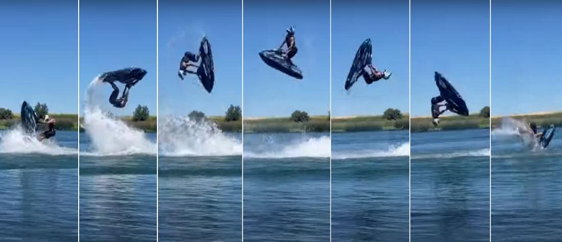 Man Casually Performs Double Backflip On Jet-Ski