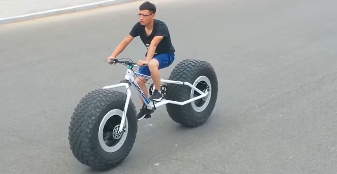 Guy Builds Bicycle With Off-Road Truck Tires