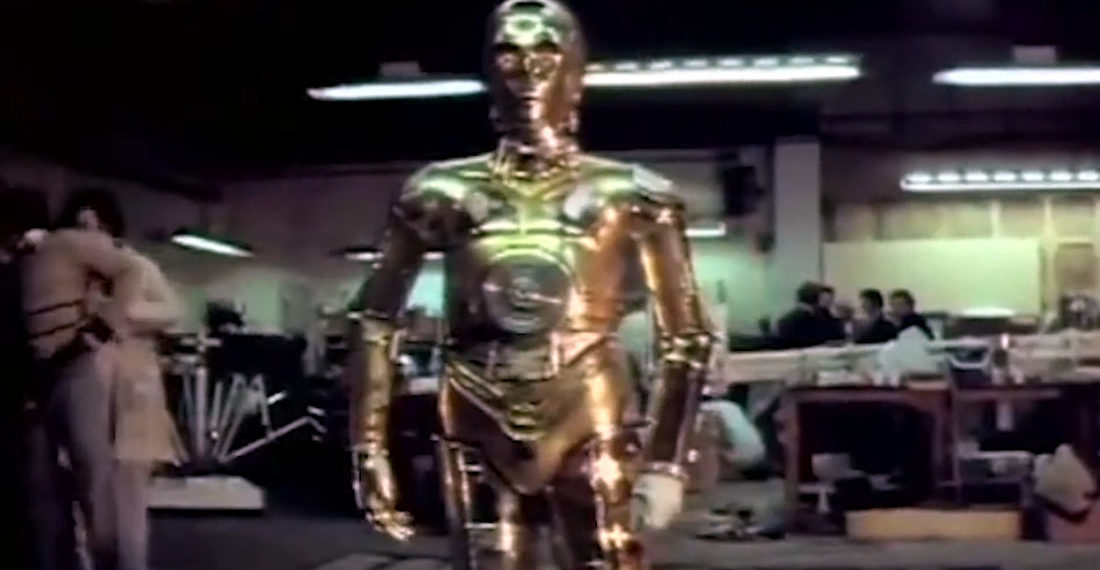 Rare 16mm Footage From 1976 Of R2-D2 And C-3PO Actors Trying On Their Costumes