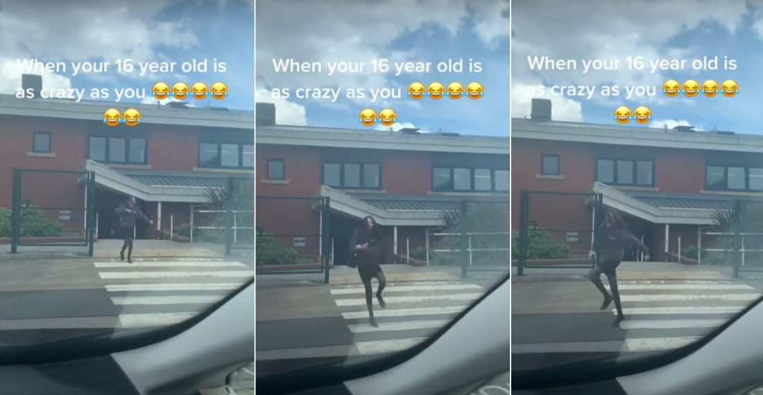 Parents Try To Prank Daughter With Loud Music While Picking Her Up From School