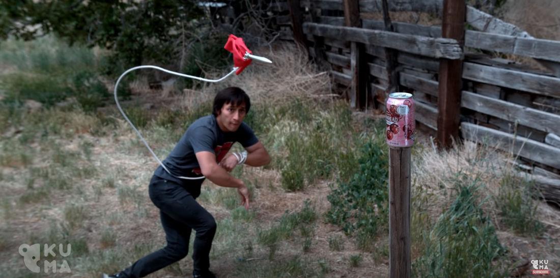 Real Life Mortal Kombat Scorpion Rope Dart Trick Shots