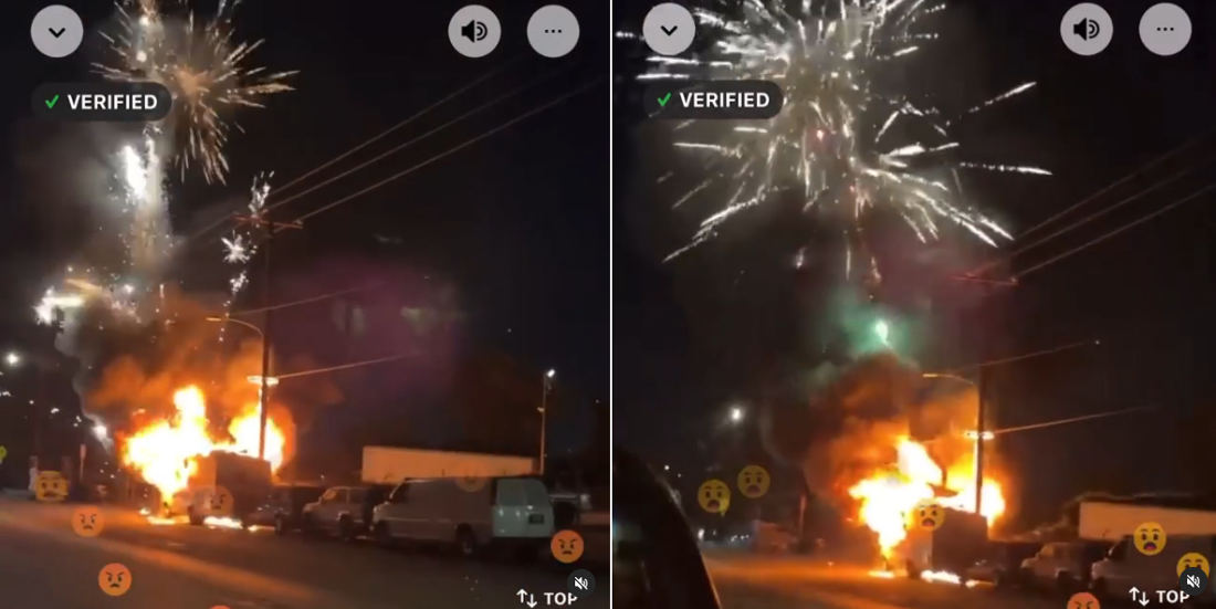 RV Containing Fireworks Goes Up In Flames