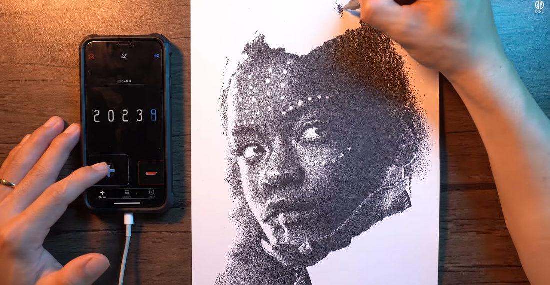Timelapse Of A 182,336 Dot Portrait Of Wakanda Princess Shuri