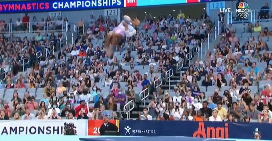 Watching A Simone Biles Floor Exercise Tumbling Pass In Super Slow Motion