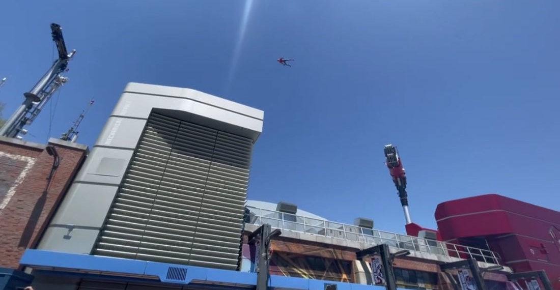 Animatronic Spider-Man's High-Flying Performance At Disneyland