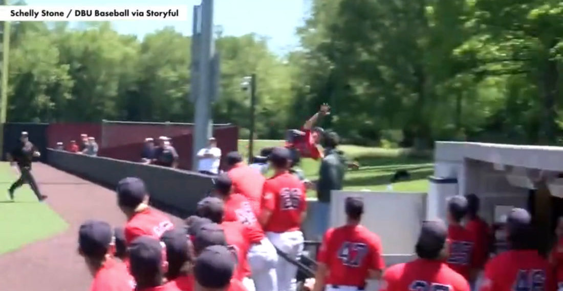 College First Baseman Supermans Over Wall To Make Catch