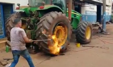 Attempt To Explosively Reseal Tractor Tire With Gasoline Goes Wrong