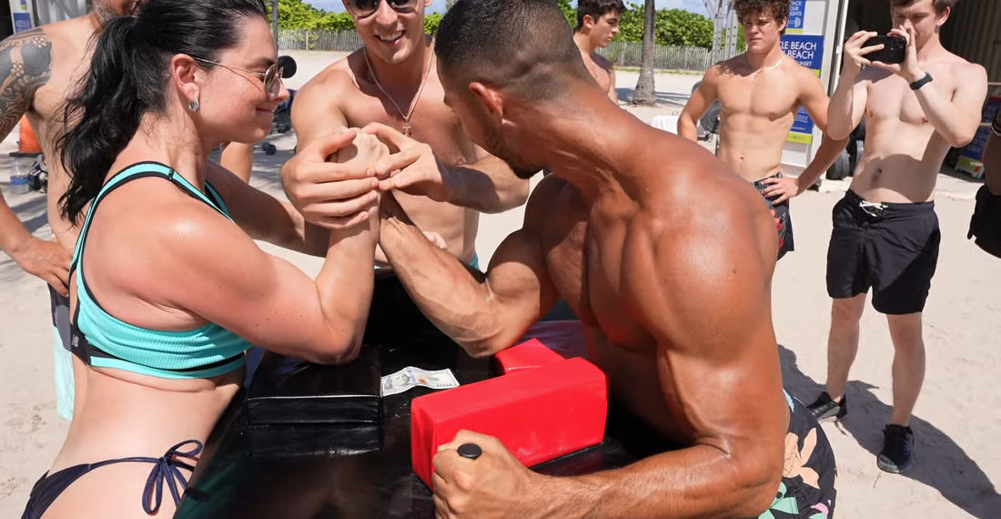 Female World Champ Arm Wrestler Destroys All Challengers At Miami's Muscle Beach