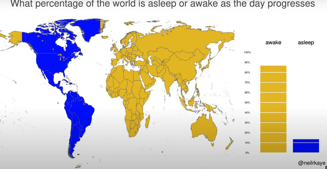 Timelapse Visualizing What Percentage Of The World Is Asleep As A Day Progresses