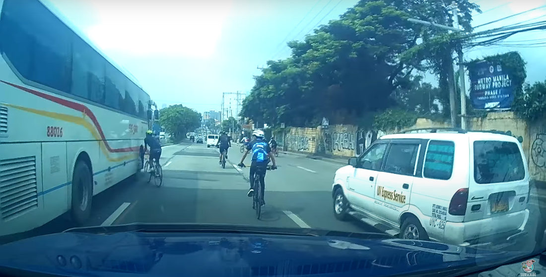 Oblivious Cyclist Rides Right Into The Side Of A Bus