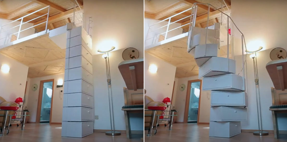 Drawers That Transform Into A Spiral Staircase