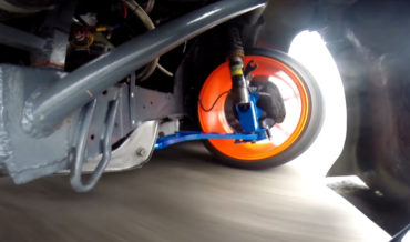 View Of Drift Car's Front Suspension In Action
