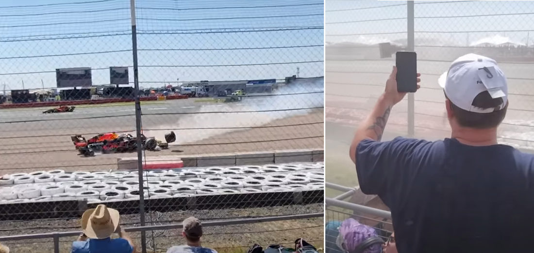 Formula 1 Crash As Viewed From The Spectators Right In Front Of It