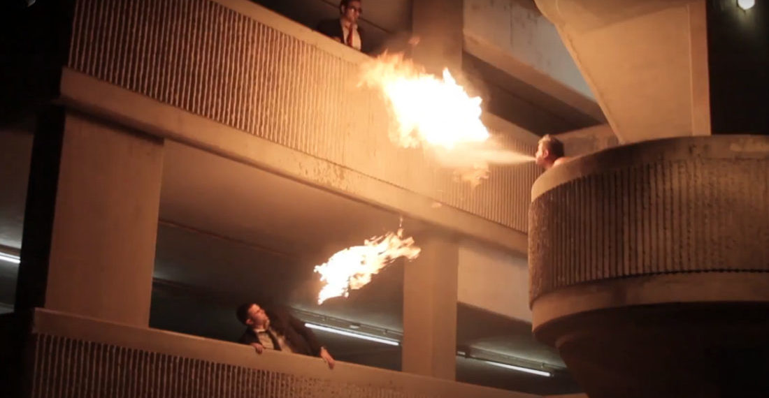 Eight Dude, Seven Level Fire Breathing Trick