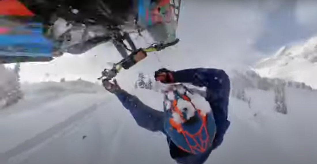360-Degree Helmet Cam Captures Snowmobiler Abandoning Ship Mid-Backflip